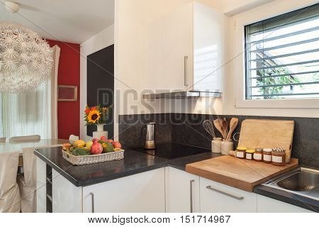 interior of a house, domestic kitchen