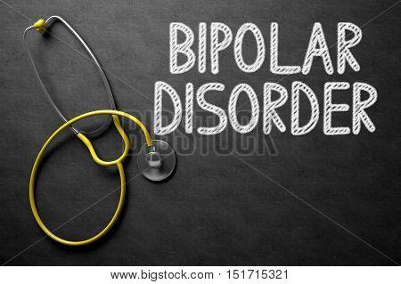 Black Chalkboard with Bipolar Disorder - Medical Concept. Medical Concept: Bipolar Disorder - Text on Black Chalkboard with Yellow Stethoscope. 3D Rendering.