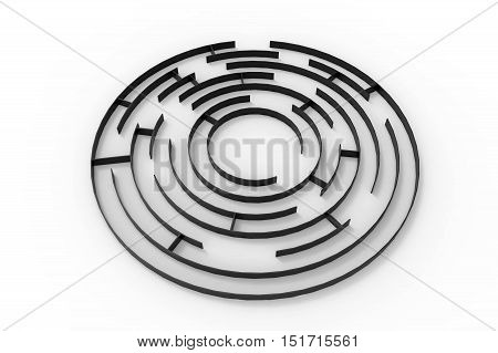Labyrinth 3d rendering isolated on white background