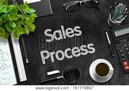 Business Concept - Sales Process Handwritten on Black Chalkboard. Top View Composition with Chalkboard and Office Supplies on Office Desk. 3d Rendering.