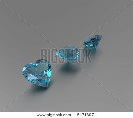 3D rendering with blue diamonds. Fashion Jewelry.