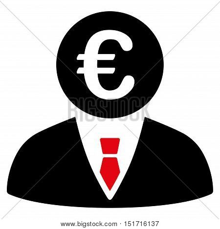 Euro Clerk icon. Vector style is bicolor flat iconic symbol, intensive red and black colors, white background.