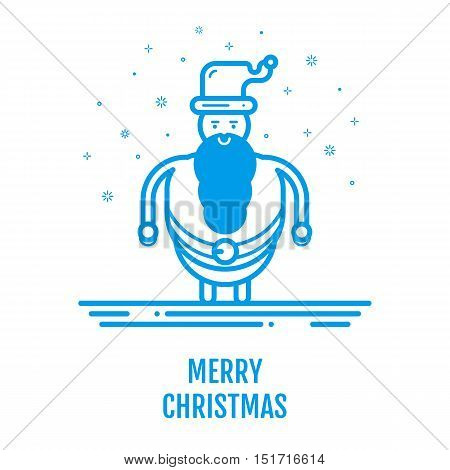 Merry Christmas icon concept with Santa Claus in outline style. New year 2017 design for banner web graphics page background invitation greeting card flyer poster template. Vector Illustration.