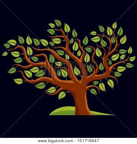 Art illustration of spring branchy tree stylized ecology symbol.