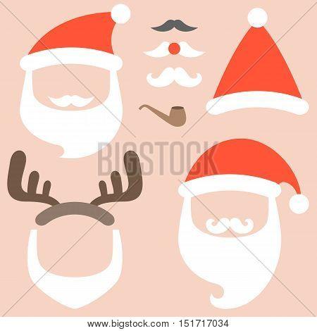 Vector collection of santa hat,beard, reindeer hairband, mustache,pipe