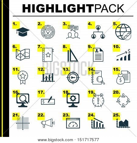 Set Of 25 Universal Icons On Report, Time Management, Collaboration And More Topics. Vector Icon Set