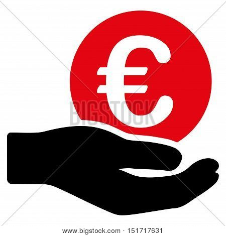 Euro Salary icon. Vector style is bicolor flat iconic symbol, intensive red and black colors, white background.