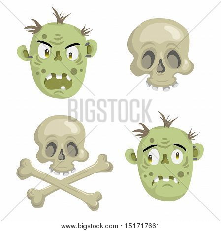 Cartoon scull and zomies mask set. Trendy halloween party vector icon.