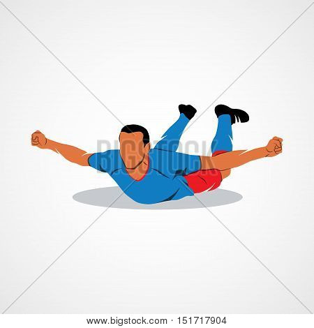 Soccer player happy after victory goalkeeper on a white background. Vector illustration.