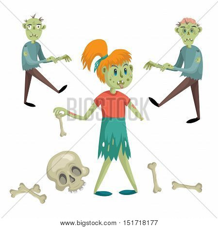 Cartoon halloween simple gradient vector icon set with zombies and skeleton parts. Two zombie mens zombie girls without hand and skull with crossbones.