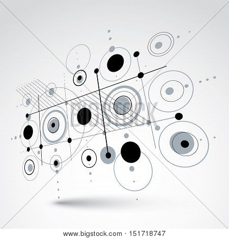 Modular Bauhaus 3d vector black and white background created from simple geometric figures like circles and lines. Best for use as advertising poster or banner design.