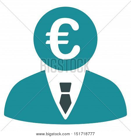 Euro Clerk icon. Vector style is bicolor flat iconic symbol, soft blue colors, white background.