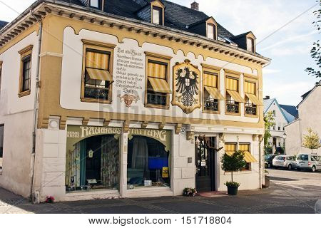 BOPPARD GERMANY - AUGUST 07: View of the house with shops and a renovated facade reminiscent of history in Boppard Germany on August 07 2016