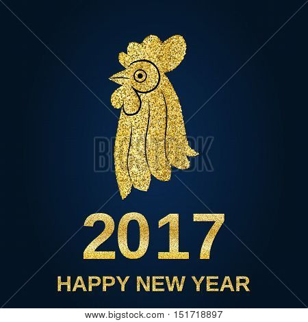 Golden glitter rooster on black background. Chinese calendar for the year of golden rooster 2017. Happy new year 2017. Vector illustration. Design element for festive banner, card, invitation