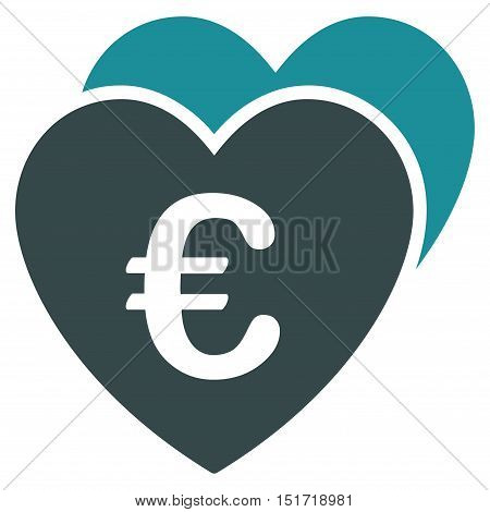 Euro Favorites Hearts icon. Vector style is bicolor flat iconic symbol, soft blue colors, white background.