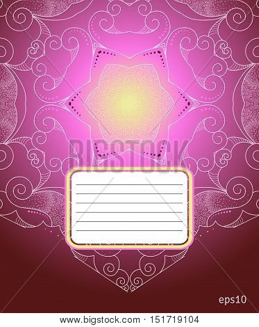 The cover design for school notebook. Abstract illustration. Signature box. Easy to change colors