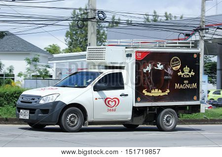 CHIANGMAI THAILAND - OCTOBER 6 2016: Refrigerated container mini truck of Walls Company. Photo at road no 121 about 8 km from downtown Chiangmai thailand.