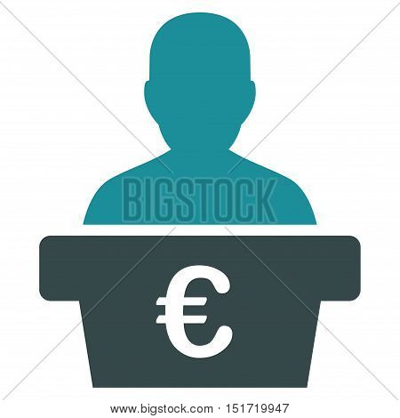 Euro Politician icon. Vector style is bicolor flat iconic symbol, soft blue colors, white background.