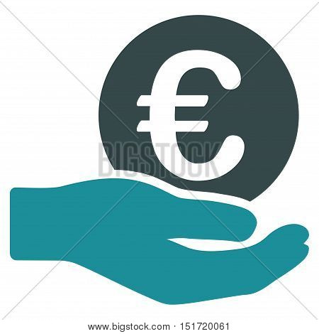 Euro Salary icon. Vector style is bicolor flat iconic symbol, soft blue colors, white background.