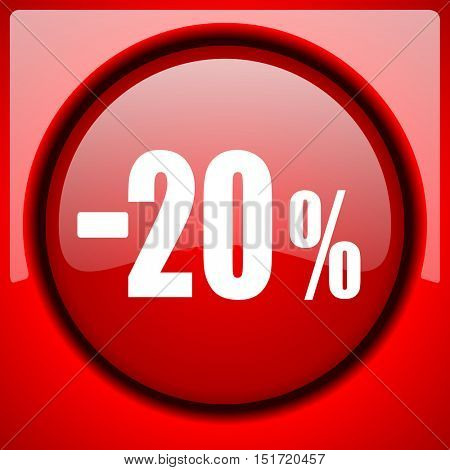 20 percent sale retail red icon plastic glossy button