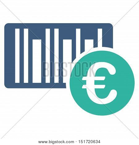 Euro Bar Code Price icon. Vector style is bicolor flat iconic symbol, cobalt and cyan colors, white background.
