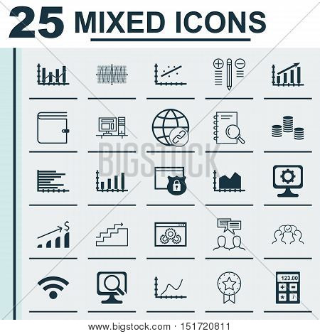 Set Of 25 Universal Icons On Sequence Graphics, Growth, Analytics And More Topics. Vector Icon Set I