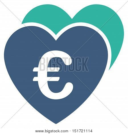 Euro Favorites Hearts icon. Vector style is bicolor flat iconic symbol, cobalt and cyan colors, white background.