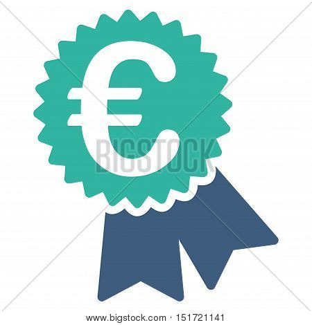 Euro Featured Price Tag icon. Vector style is bicolor flat iconic symbol, cobalt and cyan colors, white background.