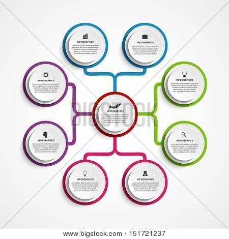 Infographic design organization chart template. Vector Illustration.