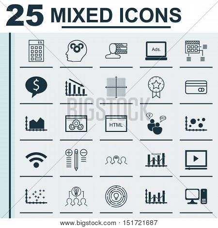 Set Of 25 Universal Icons On Keyword Optimisation, Coding, Digital Media And More Topics. Vector Ico
