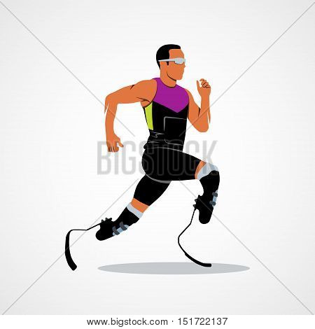 Abstract disabled athlete running on a white background. Photo illustration.