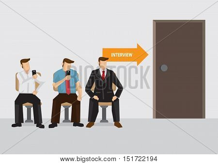 Three candidates sitting outside interview room waiting. Vector illustration on job interview concept.
