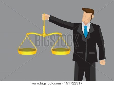 Cartoon man in formal suit holding golden balance scales like Scales of Justice. Vector illustration for concept on upholding professional ethics isolated on grey background.