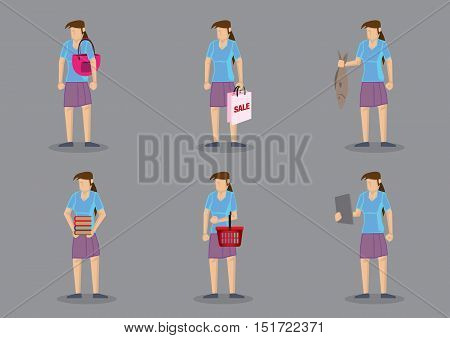 Set of six vector cartoon character of woman as homemaker carrying different objects isolated on grey background.