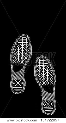 imprint soles shoes - sneakers  isolated on black background
