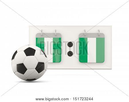 Flag Of Nigeria, Football With Scoreboard