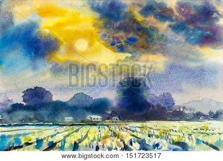 Watercolor landscape original painting colorful of mountain and rice field in emotion of sunset background