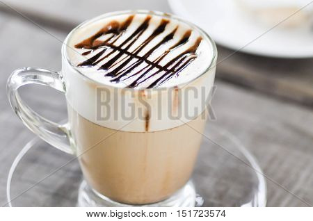 glass of hot cocoa hot coffee or hot chocolate
