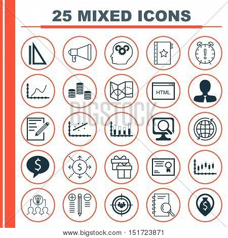 Set Of 25 Universal Icons On Measurement, Announcement, World And More Topics. Vector Icon Set Inclu