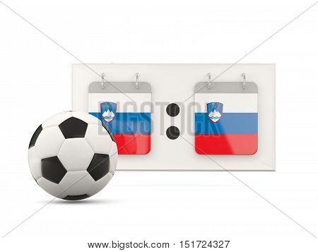 Flag Of Slovenia, Football With Scoreboard