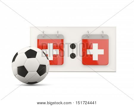 Flag Of Switzerland, Football With Scoreboard