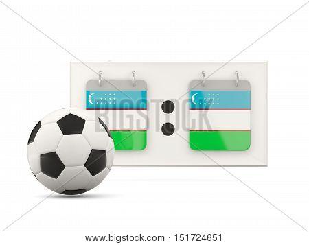 Flag Of Uzbekistan, Football With Scoreboard