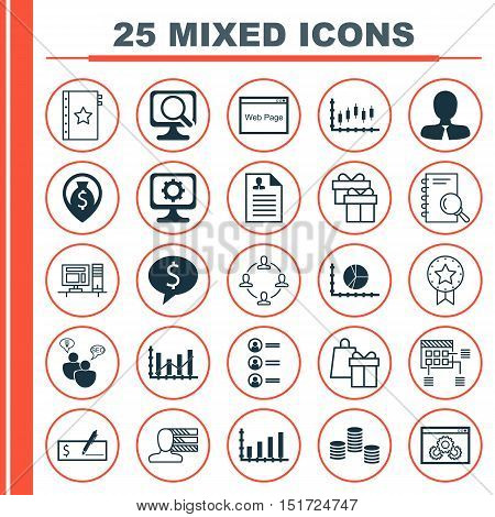Set Of 25 Universal Icons On Stock Market, Website Performance, Warranty And More Topics. Vector Ico