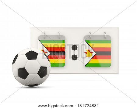 Flag Of Zimbabwe, Football With Scoreboard