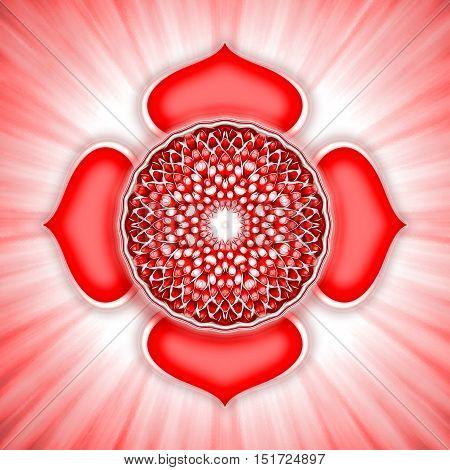 Illustration of a chakra symbol. Root chakra muladhara.