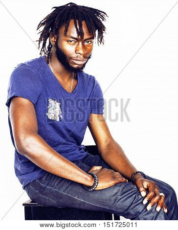 young handsome afro american boy  stylish hipster gesturing emotional isolated on white background smiling, people lifestyle concept