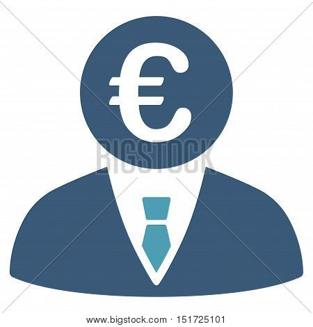 Euro Clerk icon. Vector style is bicolor flat iconic symbol, cyan and blue colors, white background.