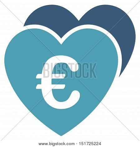 Euro Favorites Hearts icon. Vector style is bicolor flat iconic symbol, cyan and blue colors, white background.