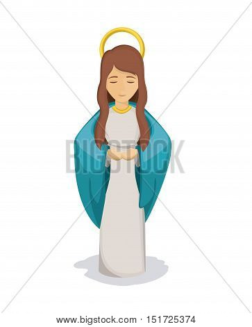 Mary cartoon icon. Holy family and merry christmas season theme. Colorful design. Vector illustration