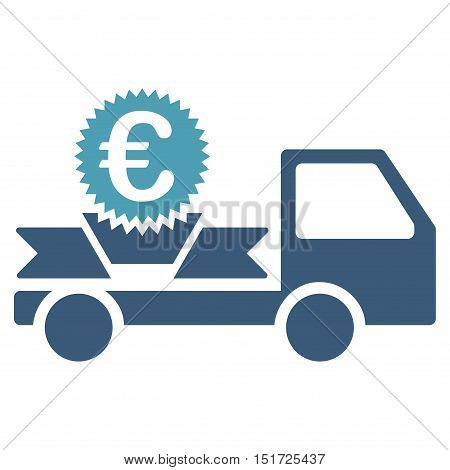 Euro Gift Delivery icon. Vector style is bicolor flat iconic symbol, cyan and blue colors, white background.